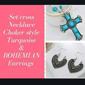 Set Cross Necklace choker Turquoise & Earrings